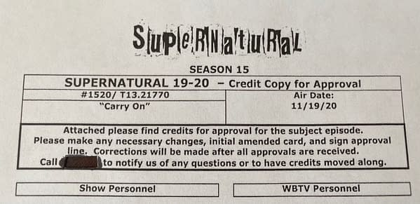Supernatural series finale screen credits (Image: The CW/Jim Michaels)