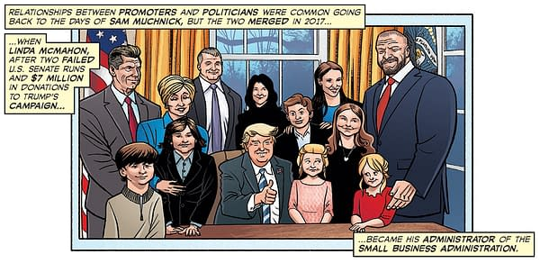 Artist Chris Moreno's interpretation of an actual photo of WWE's McMahon family visiting their friend Donald Trump in the Oval Office, from the Comic Book Story of Professional Wrestling.