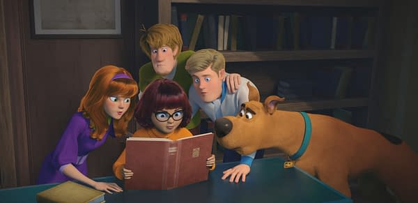 Copyright: © 2020 Warner Bros. Entertainment Inc. All Rights Reserved. Photo Credit: Courtesy of Warner Bros. Pictures Caption: (L-r) Daphne voiced by AMANDA SEYFRIED, Velma voiced by GINA RODRIGUEZ, Shaggy voiced by WILL FORTE, Fred voiced by ZAC EFRON and Scooby-Doo voiced by FRANK WELKER in the new animated adventure
