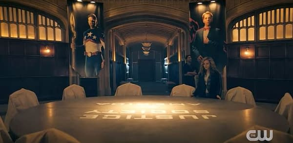 Courtney and Pat visit the old Justice Society of America headquarters in Stargirl, courtesy of The CW.