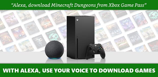 An example of a prompt for the Alexa device to directly download an Xbox Game Pass game with your voice alone. In this case, Minecraft Dungeons.