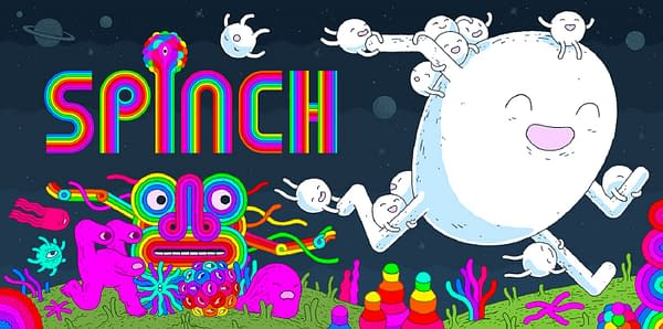 Key art for the trippy indie platformer Spinch, developed by Queen Bee Games and published by Akupara Games.