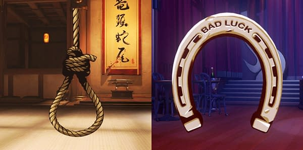 The noose on the left has been replaced with the horseshoe on the right.
