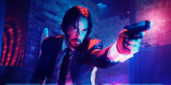 Keanu Reeves makes his way out of The Continental in John Wick, courtesy of Lionsgate.