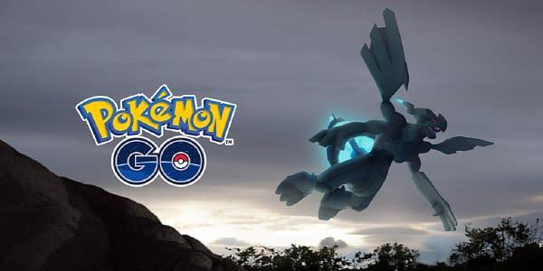 Zekrom, flying through the air so fancy free in Pokémon GO, courtesy of Niantic.