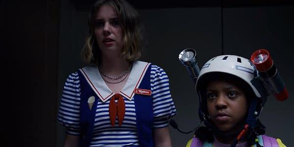 Maya Hawke and Priah Ferguson in Stranger Things 3 (Image: Netflix)
