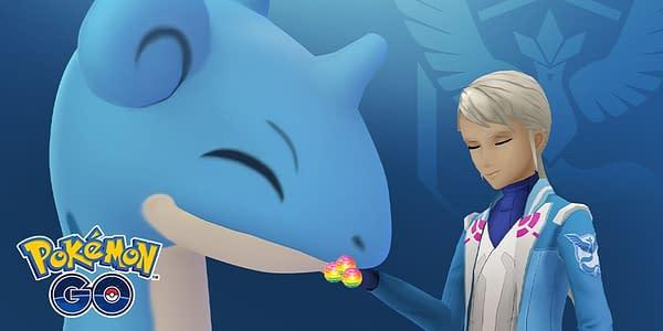 Lapras enjoying Rare Candy in Pokémon GO. Credit: Niantic.