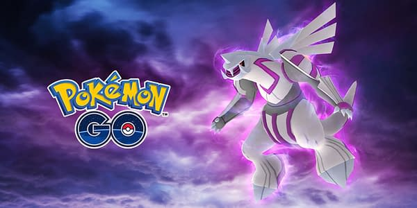 Promotional artwork for Palkia, who returns to Pokémon GO tomorrow for GO Fest 2020. Credit: Niantic.
