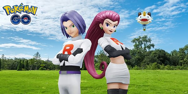 Official promotional art for Jessie, James, and the Meowth balloon. Credit: Niantic.