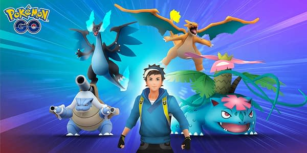 A promotional image for Mega Raids in Pokémon Go, which have been the subject of an investigation into their Shiny rate. Credit: Niantic