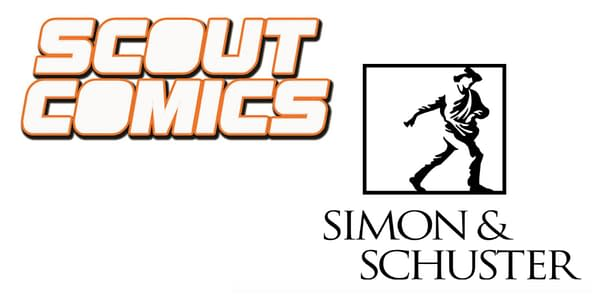 Scout Comics and Simon & Schuster logos. Credit: Scout and Simon & Schuster.