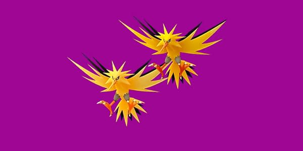 Zapdos Shiny and regular comparison for raids, wherein it will have the Legacy fast attack of Thunder Shock.