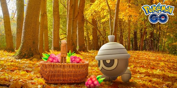 Seedot features in the Pokémon GO autumn event promo picture. Credit: Niantic