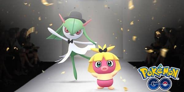 Promotional image of Kirlia and Smoochum celebrating. Credit: Niantic