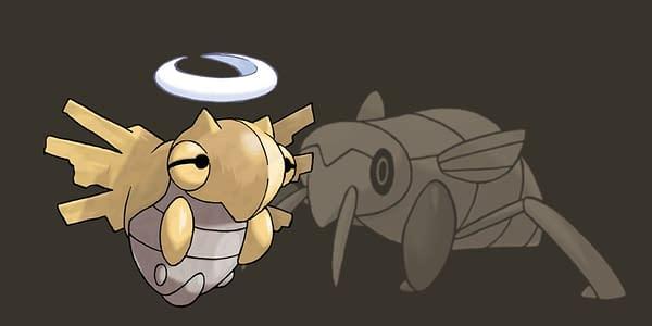 Shedinja set over a faded Nincada graphic. Credit: The Pokémon Company International
