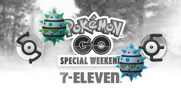 Ferroseed superimposed over the Pokémon GO and 7-Eleven Special Weekend promo graphic. Credit: Niantic