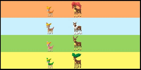 The various forms of Deerling and Sawsbuck in Pokémon GO. Credit: Niantic