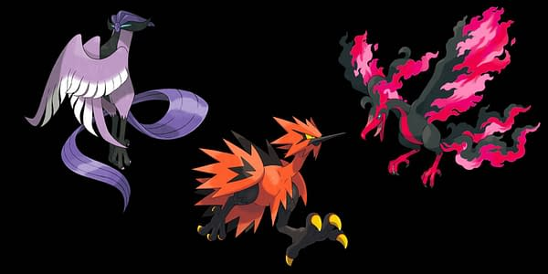 Not yet released in Pokémon GO, these are the Legendary Birds of Galar. Credit: The Pokémon Company International