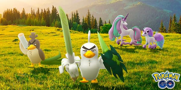 Sirfetch'd and Galarian Ponyta, Rapidash, and Farfetch'd promotional image in Pokémon GO. Credit: Niantic
