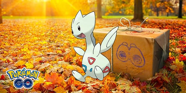 Togetic official artwork superimposed over the Research Breakthrough promotional image for Pokémon GO. Credit: Niantic & the Pokémon Company International