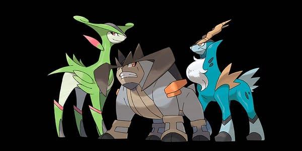 Arte oficial de Terrakion, Cobalion y Virizion.  Crédito: The Pokémon Company International
