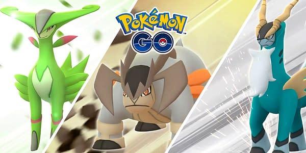 Virizion, Terrakion, and Cobalion in Pokémon GO. Credit: Niantic