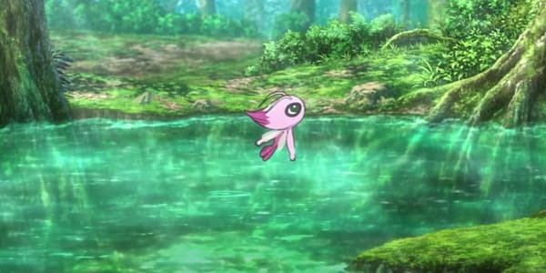 "Shiny Celebi screenshot from ""Secrets of the Jungle"" trainer. Credit: Pokémon the Movie"
