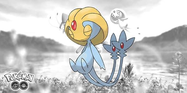 Official Uxie artwork over Lake Trio promo image in Pokémon GO. Credit: Niantic & The Pokémon Company International
