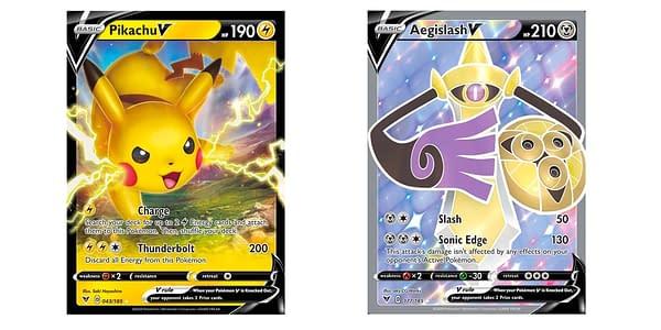 Pikachu V and Aegislash V Full Art cards. Credit: Pokémon TCG