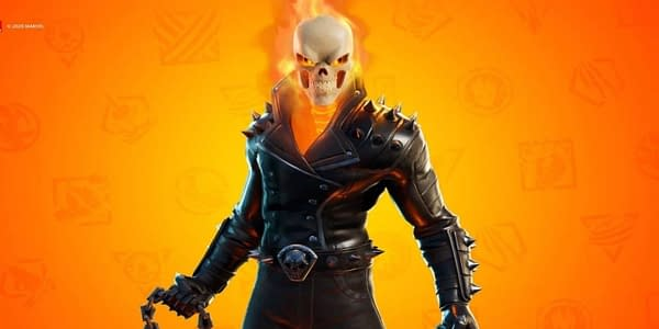 A look at the Ghost Rider skin in Fortnite, courtesy of Epic Games.