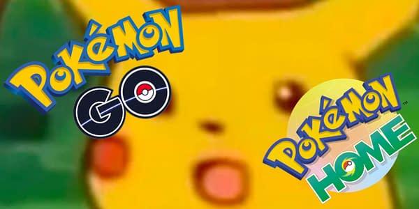 Pokémon GO and Pokémon HOME logos set over the Surprised Pikachu meme. Credit: Niantic & the Pokémon Company International