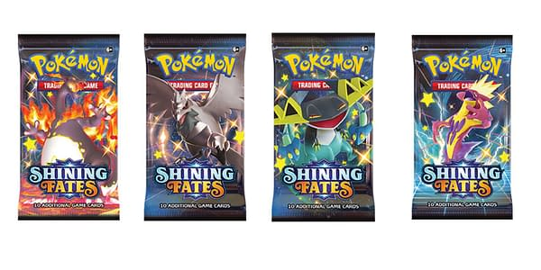 Shining Fates booster packs. Credit: Pokémon TCG.