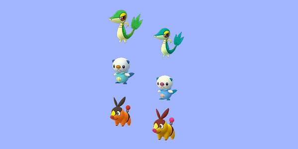 Regular and Shiny versions of Unova starters in Pokémon GO. Credit: Niantic