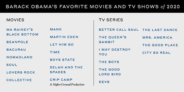 President Barack Obama released his favorite 2020 television shows (Image: President Barack Obama)
