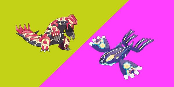 Primal Reversion Groudon and Kyogre official artwork. Credit: The Pokémon Company International