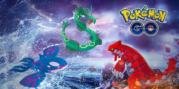 Kyogre, Rayquaza, & Groudon in Pokémon GO. Credit: Niantic