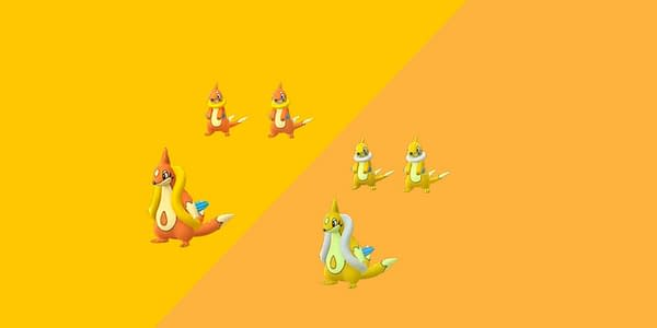 Regular and Shiny comparison for Buizel and Floatzel in Pokémon GO. Credit: Niantic
