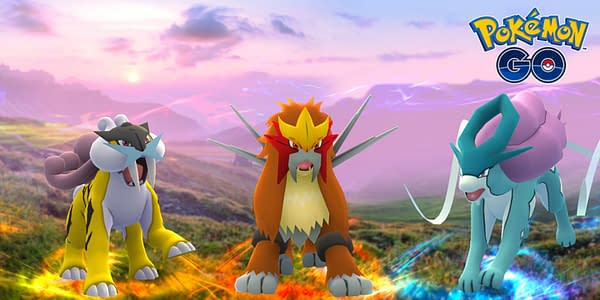 Entei, Suicune, & Raikou in Pokémon GO. Credit: Niantic