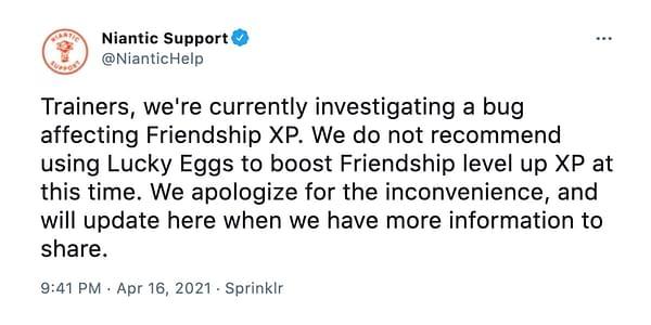 The tweet regaring Lucky Eggs in Pokémon GO. Credit: Niantic