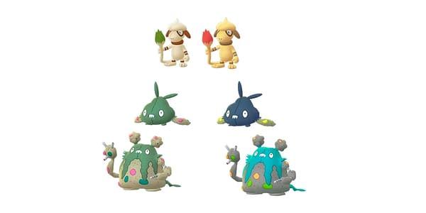 Regular Shiny Smeargle, Trubbish, & Garbordor in Pokémon GO. Credit: Niantic