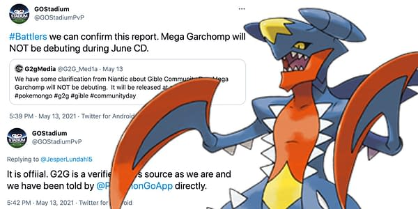 Pokémon GO tweets and Mega Garchomp design. Credit: GO Stadium