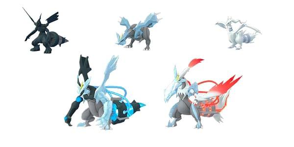 Zekrom, Kyurem, Reshiram, and fusions in Pokémon GO. Credit: Niantic