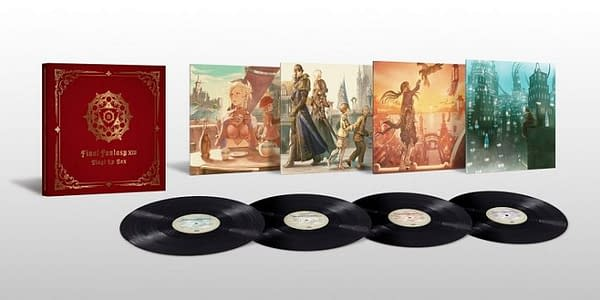 A shot of all four records from the Final Fantasy XIV vinyl LP collection, complete with vinyl sleeves done with stunning artwork by illustrator KUROIMORI, and the box to hold the four records.