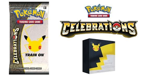 Celebrations booster pack, logo, and ETB. Credit: Pokémon TCG