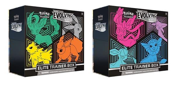 Evolving Skies Elite Trainer Boxes. Credit: Pokémon TCG
