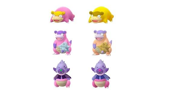 Galarian Slowpoke line Shiny comparison in Pokémon GO. Credit: Niantic