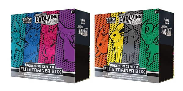 Evolving Skies exclusive Elite Trainer Boxes. Credit: TPCI