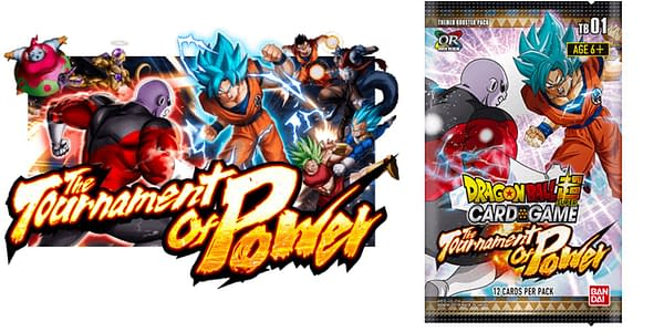 Tournament of Power logo and booster pack. Credit: Dragon Ball Super Card Game