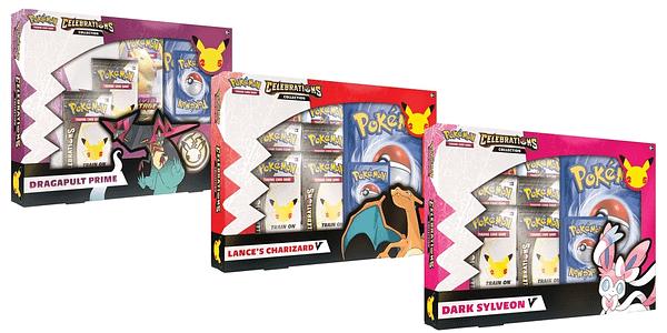 Dragapult Prime, Lance's Charizard V, and Dark Sylveon mock-up boxes. Credit: Pokémon TCG