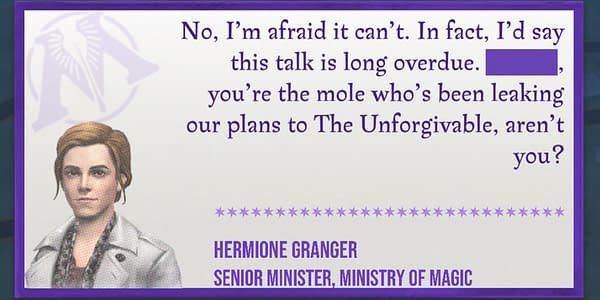 Hermione dialogue in Harry Potter: Wizards Unite. Credit: Niantic